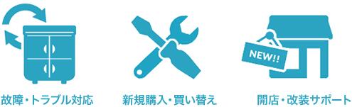 故障・トラブル / 新規購入・買い替え / 開店・改善サポート